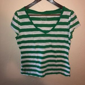 Vneck shirt green and white striped size: XL